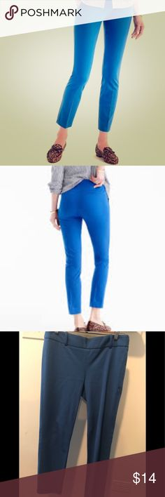 J. Crew Blue Pants J. Crew Petite Blue Pants. Has side zip for flattering silhouette. Hits above ankle. J. Crew Pants Ankle & Cropped