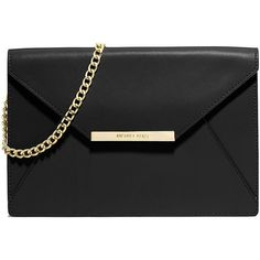 MICHAEL MICHAEL KORS Lana Leather Envelope Shoulder Clutch (11.140 RUB) ❤ liked on Polyvore featuring bags, handbags, clutches, purses, apparel & accessories, black, black envelope clutch, purse, genuine leather purse and leather purse