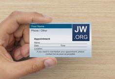 Custom JW.org Appointment Card Ministry Supplies for Jehovah's Witnesses Field Service International Regional Convention Pioneer Gift Gifts