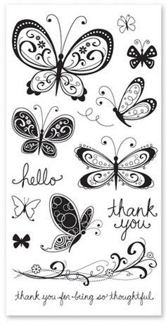 Hampton Art Acrylic Stamp Set - Kelly Panacci Curlique Butterflies
