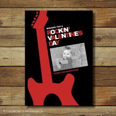 Guitar Valentine's Day Card - rock star. $15.00, via Etsy.