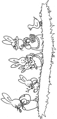 Easter embroidery bunny rabbits