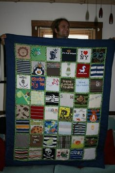 Keepsake baby clothes quilt. Might have to learn how to sew so I can do this for my kiddos one day:)