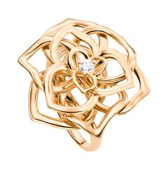 Piaget Rose ring in 18K pink gold set with a brilliant-cut diamond (approx. 0.06 ct).
