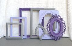 Purples, Greys Gray  Painted photo Frames