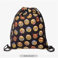 Emoji Bag Drawstring Backpack 3D Printing Bags For Gril Women Backpacks Mochila Feminina Harajuku Patchwork Softback BP023