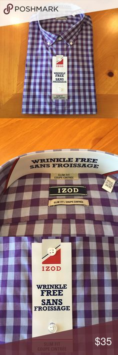 IZOD Wrinkle Free Sans Froissage Shirt/  New Modern IZOD button-down collar shirt , the wrinkle-free treatment of this dress shirt requires very little ironing. Size is 17- 17 1/2- 34/35 and slim fit....new still in the bag Izod Shirts Dress Shirts