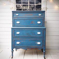 Tallboy painted in Miss Mustardseed Milk Paint Flow Blue