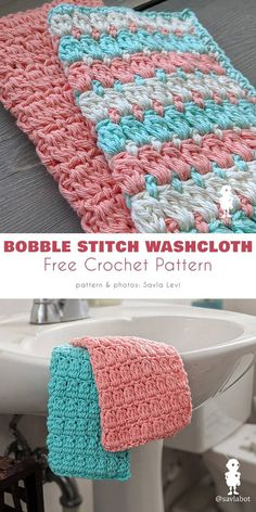 Bobble Stitch Washcloth Free Crochet Pattern – Washcloth – Ideas of Washcloth - Topflappen Sitricken Crochet Kitchen, Crochet Home, Easy Crochet, Double Crochet, Crochet Gratis, Free Crochet, Tricot D'art, Crochet Projects, Crochet Patterns