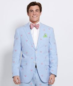 Men's Blazers: Horseshoe Gingham Sport Coat for Kentucky Derby - Vineyard Vines  - Love it!  I would love a man that can wear this!!