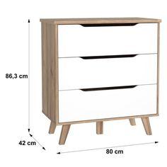 FINLANDEK Commode de chambre VANKKA scandinave décor chêne et blanc mat + pieds en bois massif - L 80 cm - Achat / Vente commode de chambre FINLANDEK Commode 80 cm - Cdiscount