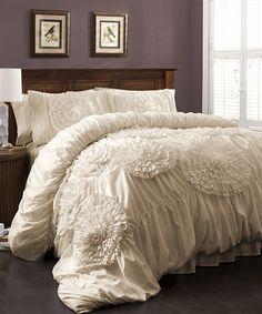 Ivory Magnolia Comforter Set #zulily #zulilyfinds
