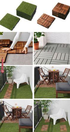 Dalles caillebotis IKEA gazon et bois Garden Garden apartment Garden ideas Garden small