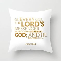 Psalm 34:7 - Gold Throw Pillow by cooledition   Society6