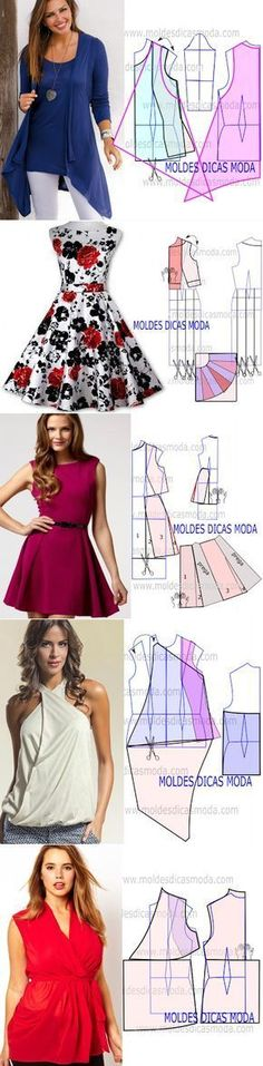 Tunic and dress patterns Sewing Patterns Free, Free Sewing, Sewing Tutorials, Clothing Patterns, Dress Patterns, Sewing Crafts, Sewing Projects, Sewing Dress, Sewing Clothes
