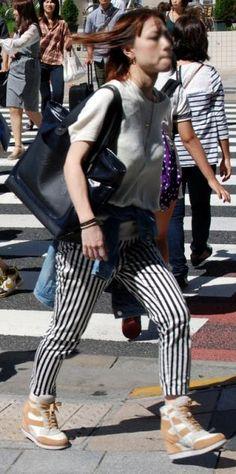 harajuku fashion black and white pants