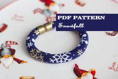 PDF Pattern for bead crochet bracelet - Seed beads crochet rope - Xmas winter jewelry - Blue bangle - Snowflake pettrn - Snowfall