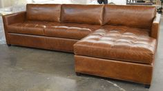 This order delivered to Long Beach CA. and our customer is thrilled!  This Arizona Leather Sofa Chaise Sectional has the chaise on the right side when facing, or RAF and was wrapped in Italian Brompton Classic Vintage Leather before having the seats hand tufted by our team. Shop this style: https://www.leathergroups.com/shop/Arizona-Leather-Furniture-Collection.html