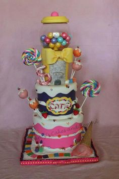 Candy themed cake by Nancy's Cakes & Beyond. First Birthday Parties, First Birthdays, Birthday Cakes, Beautiful Cakes, Amazing Cakes, Lolly Cake, Candy Themed Party, Girly Cakes, Candy Cakes