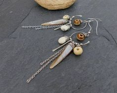 Long earrings tribal beige Brown Pearl bone and stainless