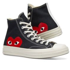 Comme des Garcons Play x Converse Chuck Taylor 1970s Hi ($250) ❤ liked on Polyvore featuring shoes, sneakers, converse sneakers, converse footwear, converse trainers and converse shoes