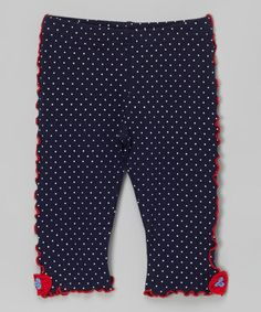 This Navy Floral Lettuce-Edge Capri Leggings - Infant & Toddler is perfect! #zulilyfinds