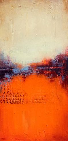 """""""Autumn"""" Textured, abstract art print in orange and white"""