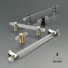 Adjustable acrylic cabinet handles from Schaub and Company. Available in Polished Nickel, Satin Brass, Matte Black, Polished Chrome, Oil Rubbed Bronze