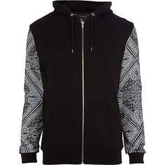 Black bandana print sleeve hoodie #riverisland #RImenswear