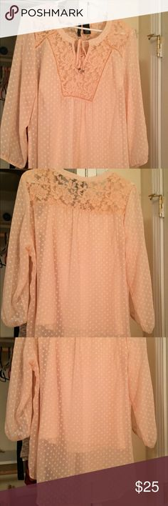 Tunic from belk Peach/pink color I'm not sure how to describe it but very pretty tunic with lace at the top of the blouse, comes with tank to go under It. It's see through. Took the tags off before it was tried on. It hasn't been wore. new directions Tops Tunics