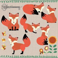 Foxes digital clipart by Verdigris Studios on Creative Market