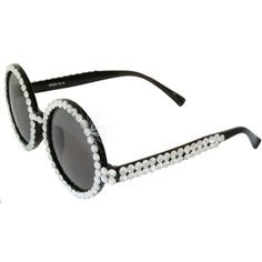 Hand Applied Crystal Rhinestone Sunglasses in Crystal with Black finish