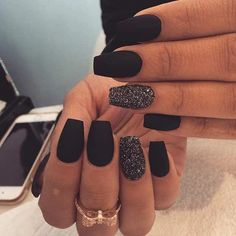 Matte Black Nail Designs Idea matte black with a splash of glitter prom nails how to do Matte Black Nail Designs. Here is Matte Black Nail Designs Idea for you. Matte Black Nail Designs matte black with a splash of glitter prom nails how . Hair And Nails, My Nails, S And S Nails, Matte Black Nails, Black Manicure, Nail Black, Black Acrylic Nails, Matte Gel Nails, Black Nails With Glitter