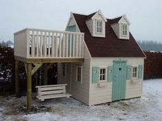 Adorable Wooden Playhouse With Side Balcony #buildplayhouse #outdoorplayhouseideas #kidsoutdoorplayhouse