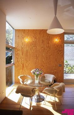 Image result for stained plywood walls