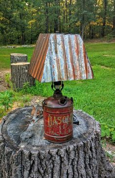 Lamp from vintage metal gas can and corrugated metal Industrial Project Ideas Decor Project Ideas Rustic Furniture, Diy Furniture, System Furniture, Furniture Removal, Industrial Furniture, Furniture Plans, Rustic Decor, Farmhouse Decor, Rustic Chair