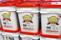 big tubs containing 200 dehydrated meals, for $100. The meals have a 20-year shelf life. Twenty years. Just add water.