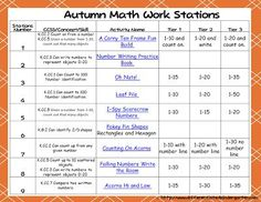 Planning Autumn Math Stations - Differentiated Kindergarten Differentiated Kindergarten, Kindergarten Teachers, Kindergarten Activities, Free Math Games, Fun Math, Learning Centers, Math Centers, Math Manipulatives, Math Concepts