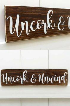 Uncork and Unwind Farmhouse Sign. Perfect for the kitchen or wine room. Wine Signs. Farmhouse Decor. Wine Decor. #WineDecor