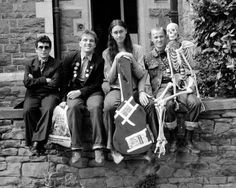 The Young Ones cast photo, including (from left to right) Christopher Ryan, Rik Mayall, Nigel Planer, and Adrian Edmondson. Desktop: The Young Ones British Humor, British Comedy, English Comedy, Rik Mayall, First Tv, Neil Young, Young Ones, Film Music Books, Classic Tv
