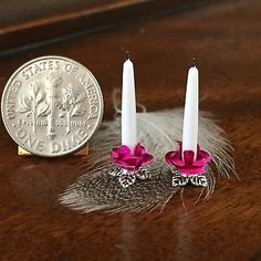 Dolls House Dollhouse 1:12 Miniature Fancy Candle Holders Candlesticks Pink Rose
