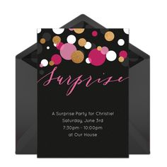 Free surprise birthday party invitation with a modern design. Love this design for a fun surprise 30th birthday party.