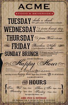 Dallas: Acme Food and Beverage: Specials