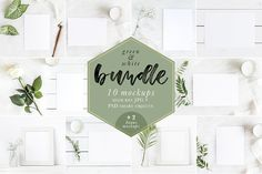 Green & White Mockups Bundle Bonus Graphics Green & White Bundle with 10 Mockups 2 Bonus!Perfect to display your artwork, calligraphy or by Gabriela Dantur Free Design, Your Design, Design Shop, Stickers Design, Iphone 6, Table Design, Scene Creator, Behance, Packaging