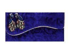 Indian Wedding Envelope with Blue Velvet Peacock Motif... #envelopes #Sevenpromises