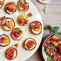 Mini Cornmeal Cakes with Heirloom Tomato Relish by pickyeatersblog: Small bites! #Cornmeal_Cakes #Tomatoes