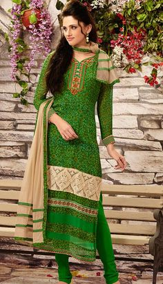 Get a Latest Fashionable Indian Green Georgette Churidar Kameez Pakistani Dresses at Affordable price with Efello.com.sg.