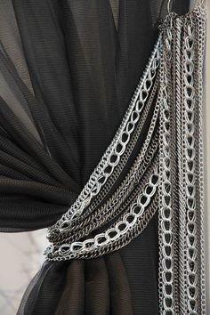 Interior design idea: chain curtain tie-back:
