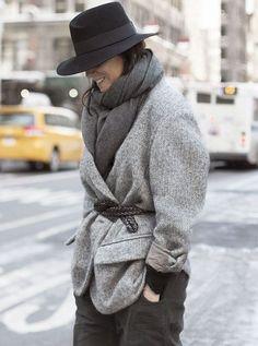 Emmanuelle Alt wearing Maison Michel hat
