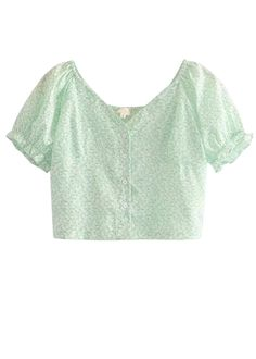 Puff Sleeves Crop Top in Green Floral Crop Top Outfits, Girly Outfits, Simple Outfits, Stylish Outfits, Cute Outfits, Korean Fashion Dress, Korean Outfits, Latest Tops Fashion, Tween Fashion
